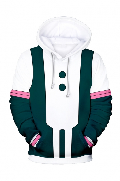 White and Green 3D Printed Colorblocked Long Sleeve Loose Fitted Drawstring Hoodie