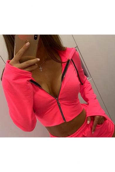 Baycheer / New Fashion Simple Basic Plain Long Sleeve Pink Zip Up Cropped Hoodie