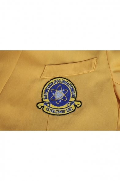 New Stylish Simple Logo Printed Notched Lapel Collar Long Sleeve Two-Button Yellow Slim Blazer Jacket