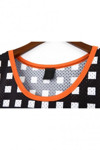 New Trend Vintage Round Neck Sleeveless Geometric Character Print Midi Shift T-Shirt Tank Dress