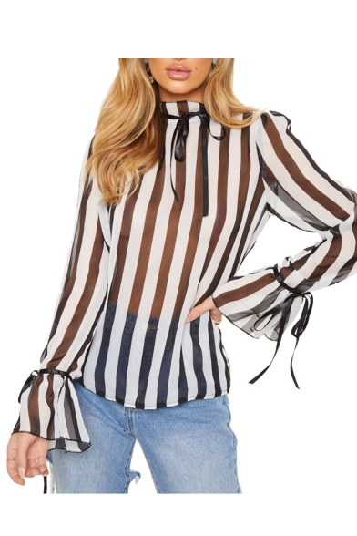 New Trendy Sexy Striped Printed Stand Collar Tied Bell Sleeve Sheer Patch Loose Chiffon Shirt