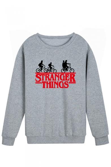 New Trendy Stranger Things Figure Printed Round Neck Long Sleeve Pullover Sweatshirt, LC554247, Black;blue;orange;pink;red;white;yellow;light gray;khaki;navy