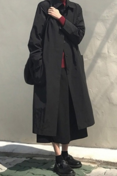 Simple Lapel Collar Single Breasted Black Thin Long Trench Coat with Pockets