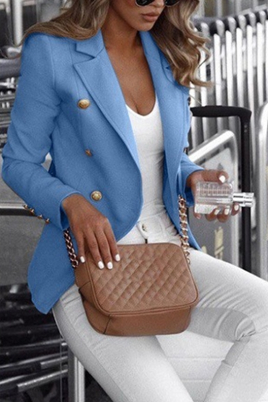 Simple Solid Color Lapel Collar Double-Breasted Long Sleeve Fitted Blazer