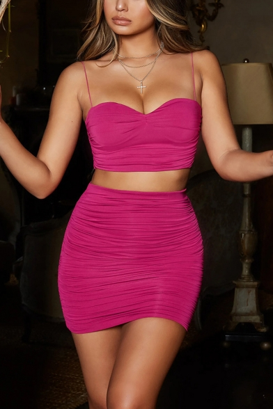 Stylish Sleeveless Straps Cropped Top with High Waist Ruch Mini Skirt Simple Plain Slinky Co-ords, Pink;rose red, LM552108