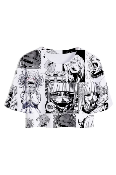 Summer Funny 3D Comic Anime Ahegao Character Printed Short Sleeve Cropped Tee