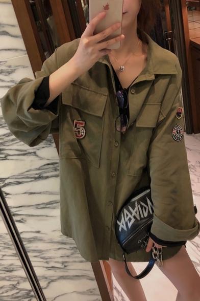 Trendy Badge Appliqués Flap Pocket Long Sleeve Exaggerated Over Shirt Coat