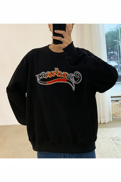 Unisex Popular Simple Fashion Letter Printed Long Sleeve Round Neck Casual Loose Sweatshirts