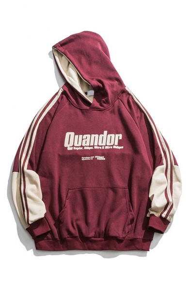 Unisex Trendy Letter QUANDOR Printed Colorblock Striped Long Sleeve Loose Sports Hoodie