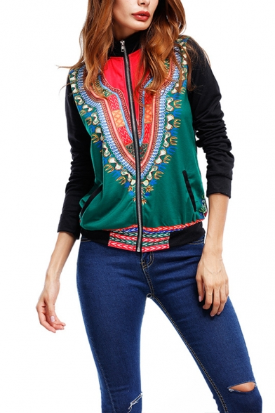 Vintage Tribal Print High Collar Long Sleeve Fitted Jacket Coat for Womens, LM557391