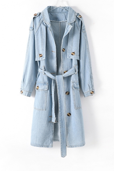 Women's New Popular Tied Waist Color-Blocked Button Embellished Denim Long Trench Coat