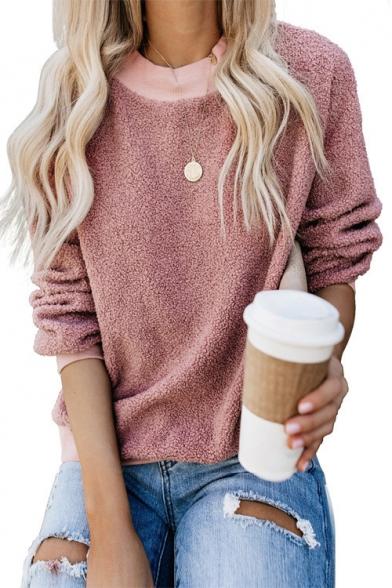 Простые женские длинные рукава пуловер свободные пушистые кофты