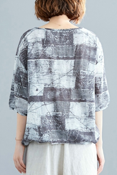 Women's Unique Vintage Ink Print V-Neck Half Sleeve Grey Blouse Top