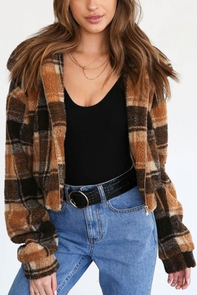 Womens Classic Brown Plaid Printed Lapel Collar Long Sleeve Zip Up Short Fluffy Fleece Jacket