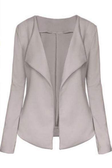 Womens Hot Trendy Simple Plain Lapel Collar Long Sleeve Fitted Blazer Coat