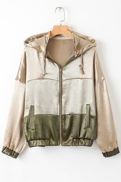 Womens New Trendy Colorblock Long Sleeve Hooded Zip Up Casual Sport Track Jacket