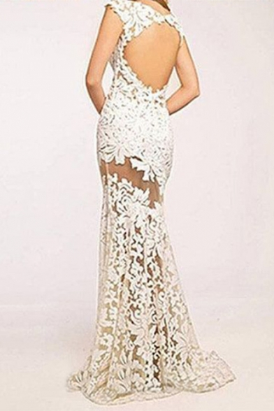 Womens Round Neck Sleeveless White Lace Guipure Backless Eneving Bodycon Floor Length Maxi Dress