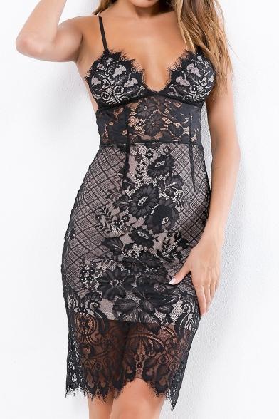 Womens Sexy Deep V-Neck Sleeveless Mini Bodycon Sleepwear Lace Slip Dress