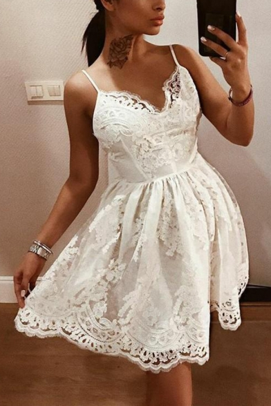 Womens Sexy V-Neck Sleeveless White Lace Floral Backless Cami A-Line Mini Dress