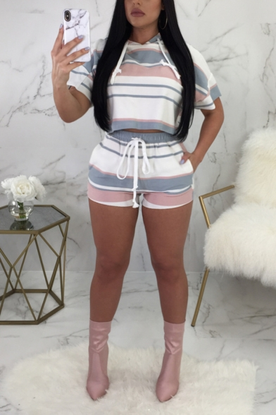 Womens Stylish Stripe Printed Hooded Short Sleeve Tee with Shorts Sport Two-Piece Set, LM556018