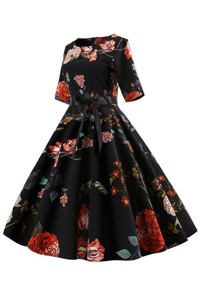 Womens Vintage Round Neck Half Sleeve Floral Print Tie Zip Midi Pleated Fit Dress