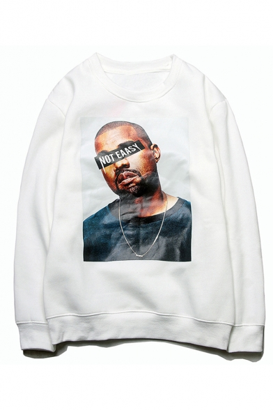 American Rapper Singer Letter NOT EASY Printed Round Neck Long Sleeve Unisex Casual Pullover Sweatshirts