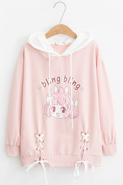 Bling Bling Letter Cartoon Girl Printed Color Block Lace Up Bow Tie Front Long Sleeve Leisure Hoodie