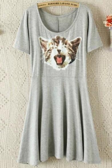 Cartoon Cat Printed Round Neck Short Sleeve Mini Pleated Modal T-Shirt Dress
