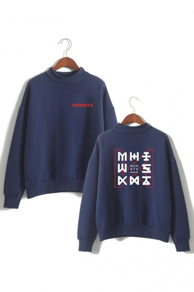 Casual Kpop Boy Group Logo Print Long Sleeve Mock Neck Sweatshirt, Black;pink;white;gray;navy, LC558155