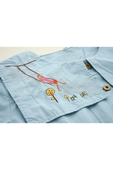 Cute Embroidery Cartoon Pattern Print Navy Collar Single-Breasted Blue Loose Jacket Coat