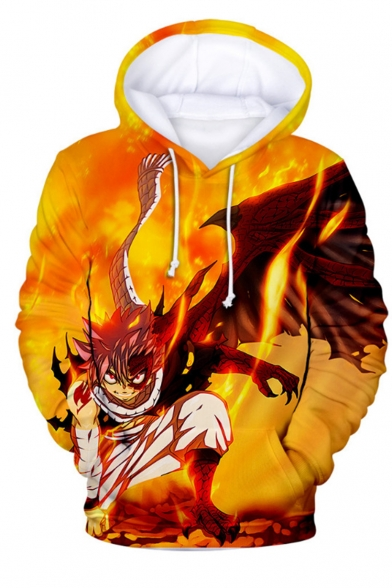 Fairy Tail Yellow Flame Comic Character 3D Printed Long Sleeve Loose Fit Pullover Hoodie