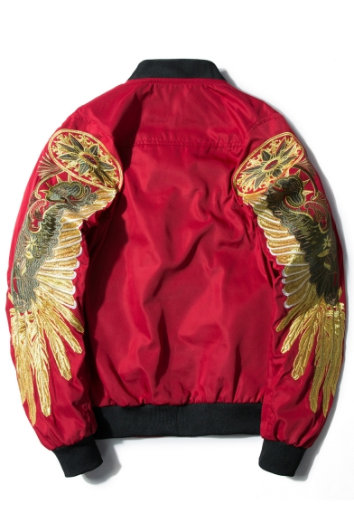 Fashion Embroidery Wing Stand Up Collar Zip Up Bomber Aviator Jacket with Pocket