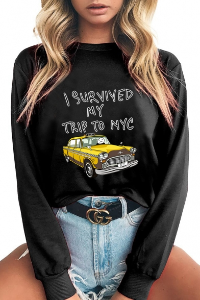 Fashion I SURVIVED MY TRIP TO NYC Letter Car Printed Long Sleeve Round Neck Pullover Sweatshirt