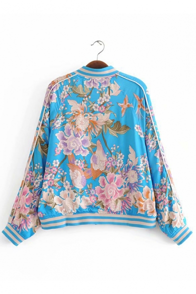 Floral Print Contrast Collar Blue Zipper Baseball Jacket with Pockets