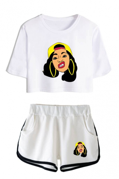 Funny Cartoon Figure Printed Short Sleeve Crop T-Shirt with Loose Shorts Sport Two-Piece Set Co-ords, LM551420, Color 1;color 2;color 3;color 4;color 5;color 6;color 7;color 8