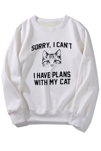 Funny Letter I Have Plans With My Cat Printed Long Sleeve Round Neck Casual Leisure Pullover Sweatshirt