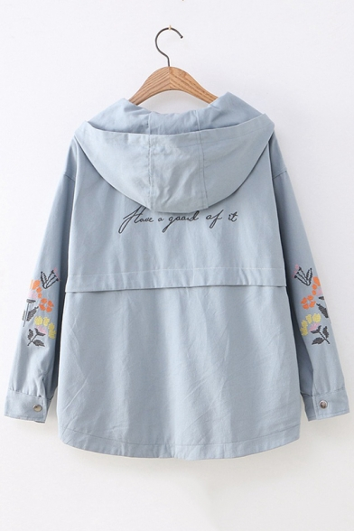Girls Preppy Style Chic Floral Embroidery Long Sleeve Hooded Zip Up Jacket