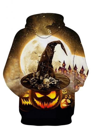 Halloween New Fashion Pumpkin Skull 3D Printed Drawstring Hooded Long Sleeve Khaki Hoodie