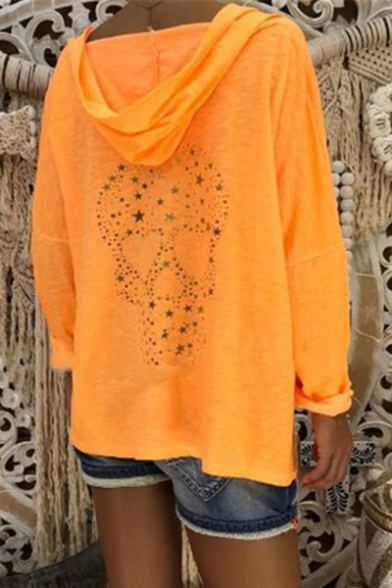 Hot Fashion Casual Loose V-Neck Skull Pattern Long Sleeve Hoodie