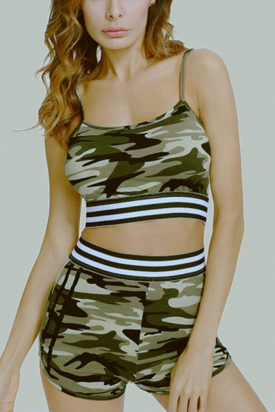 Hot Popular Camouflage Sleeveless Camisole with High-Waist Dolphin Shorts Co-ords for Women, LM556014