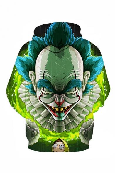 Hot Popular Clown 3D Printed Drawstring Hooded Long Sleeve Green Casual Loose Hoodie