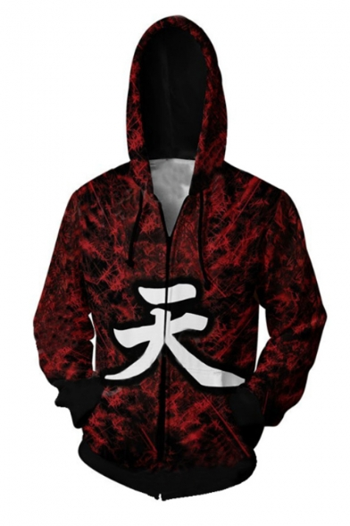 Hot Popular Comic Figure Chinese Letter Printed Game Cosplay Costume Red Long Sleeve Zip Up Hoodie