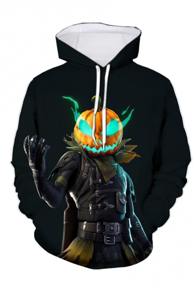Hot Popular Game Theme Figure Pumpkin Fire 3D Printed Long Sleeve Black Loose Drawstring Hoodie