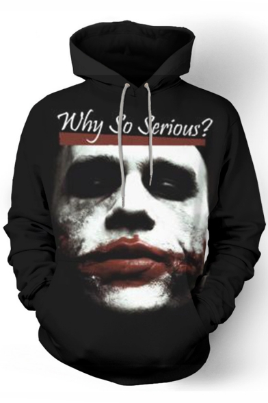 Hot Popular Letter WHY SO SERIOUS Joker 3D Printed Black Relaxed Fit Long Sleeve Pullover Hoodie