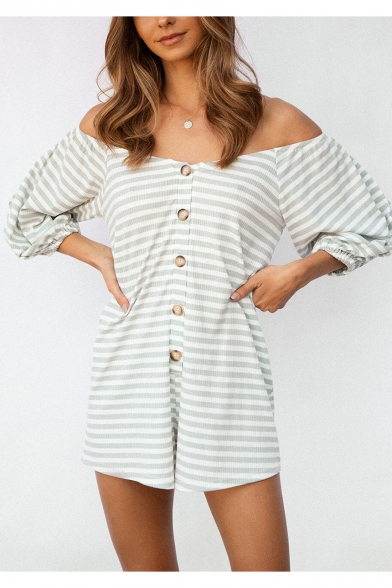 Hot Sexy Green Off Shoulder 3/4 Sleeve Striped Printed Button Down Elastic Cuff Holiday Rompers
