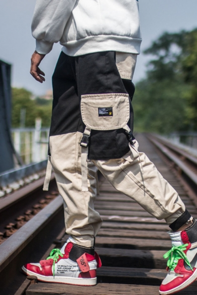 Men's New Fashion Colorblock Buckle Strap Flap Pocket Side Trendy Casual Loose Cargo Pants