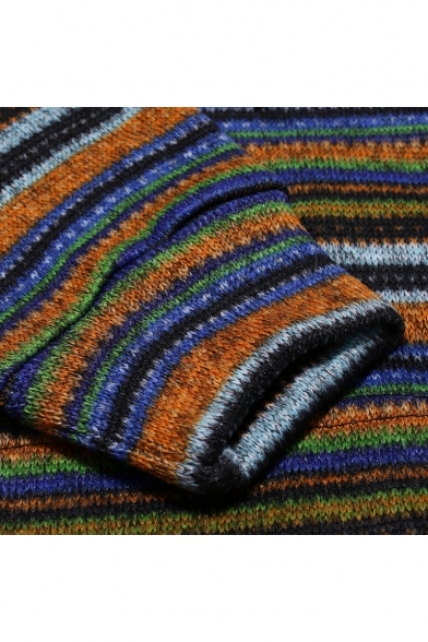 Men's New Fashion Contrast Rainbow Stripes Pattern Long Sleeve Slim Fit Casual Hoodie