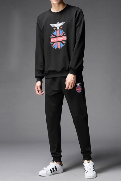 Mens Casual Fashion Eagle Graphic Pattern Long Sleeve Round Neck Pullover Sweatshirts Relaxed Fit Sports Pants Two Piece Set