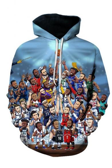 NBA Popular Basketball Player 3D Printed Long Sleeve Blue Pullover Hoodie