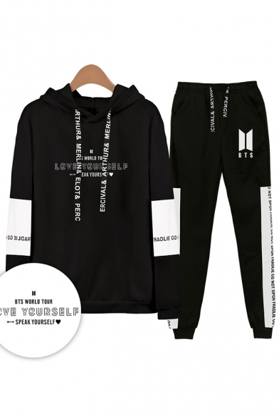 New Arrival Autumn Winter Letters Print Patterns Sport Long Sleeve Hoodie with Drawstring Sweatpants Co-ords, LM556339, Black;white;gray;navy